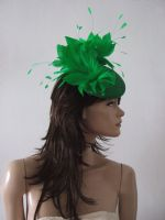 Emerald Green Fascinator Hat Headpiece. Orange Mother of the Bride outfits, Wedding Guest Hats, What to wear for Royal Ascot. Emerald Green Ascot Hats. Royal Ascot Hats. Fascinator for Weddings